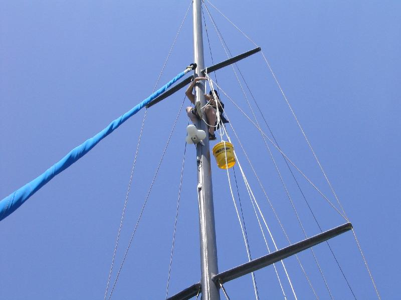 Photo #3 - Persuade a friend to install the Cheek Blocks on your mast!