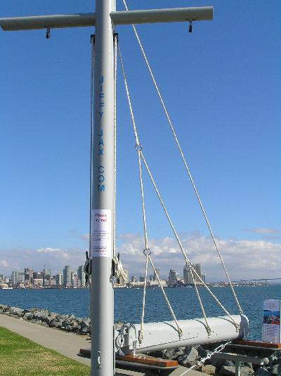 Four support line system per side - Mast mounted - Deployed  - Stainless rings